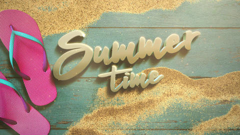 Animated text Summer Time and closeup sandy beach with sandal on wood, summer background Animation