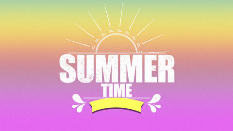 Animated text Summer Time with sun rays and flowers, pink summer background Animation