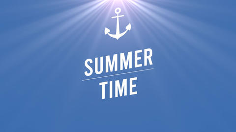 Animated text Summer Time with sun rays and sea anchor, blue summer background Animation