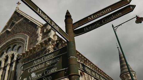 Tourism landmark signpost in front The Art Centre Live Action