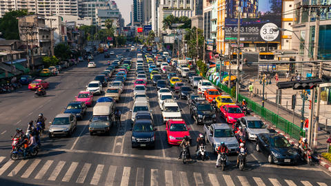 1080 - TRAFFIC IN BANGKOK ASOKE CITY CENTER Stock Video Footage
