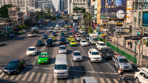 1080 - TRAFFIC IN BANGKOK ASOKE CITY CENTER Footage
