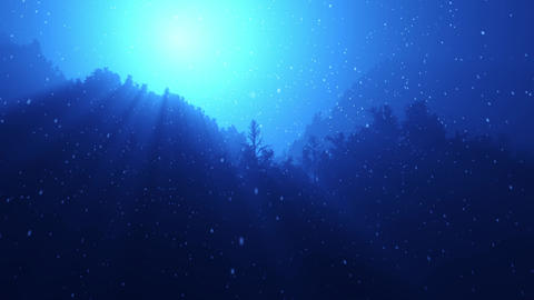 Twinkling sunlight streaks and falling snow in night forest Animation