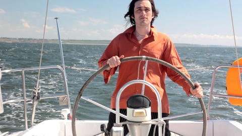 Yacht helmsman Stock Video Footage