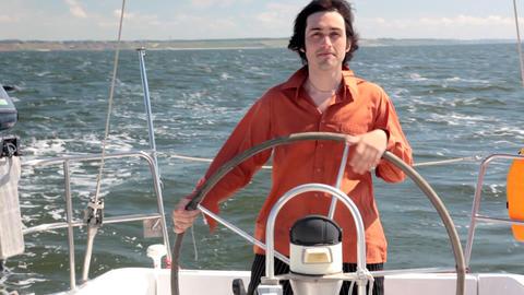 Yacht helmsman Footage