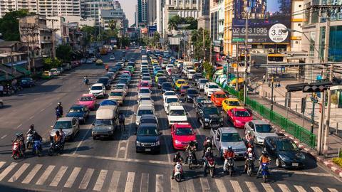 4k - TRAFFIC IN BANGKOK ASOKE CITY CENTER Stock Video Footage