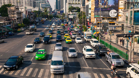 4k - TRAFFIC IN BANGKOK ASOKE CITY CENTER Footage