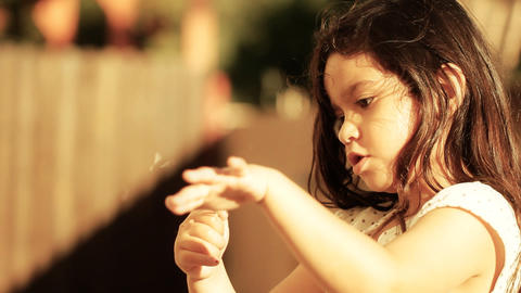 Dandelion little girl innocence Child Blowing a freedom spring childhood summer Footage