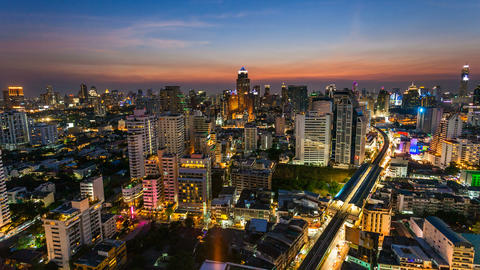 4k - BANGKOK SUNSET SKYLINE - TIME LAPSE Footage