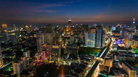 4k - BANGKOK SUNSET SKYLINE - TIME LAPSE Stock Video Footage