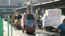 Overview of Tsukiji fish market, carts, transport, Stock Video Footage