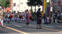 Parade of drum dancers during festival in Japan Stock Video Footage