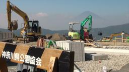 Construction site, road work, excavators, forbidde Footage