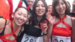 Sexy Japanese girls dressed in Halloween outfits Footage