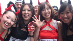 Sexy Japanese girls dressed in Halloween outfits Stock Video Footage