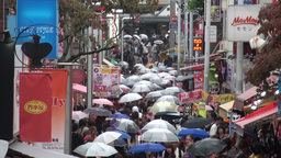 Shopping street, Harajuku, Shibuya, rain, umbrella Stock Video Footage