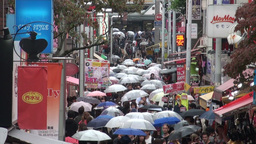 Shopping street, Harajuku, Shibuya, rain, umbrella Footage