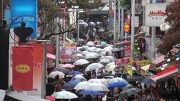 Shopping street, Harajuku, Shibuya, rain, umbrella Footage