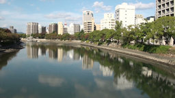 Modern skyline of Hiroshima city in Japan Stock Video Footage