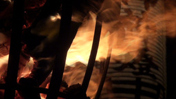 Lantern and pot of fire at the Kurama fire festiva Stock Video Footage