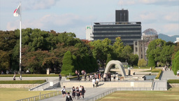 Atomic Bomb Dome And Peace Memorial Park Overview stock footage