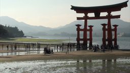 Tide comes at floating torii gate in Japan Footage