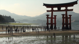 Tide comes at floating torii gate in Japan Stock Video Footage