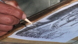 Drawing a beautiful Japanese setting with a thin p Stock Video Footage