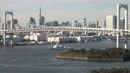 Rainbow bridge in Tokyo Stock Video Footage