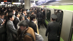 Passengers enter local commuter train during rush Stock Video Footage