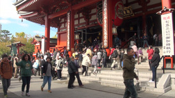 People visit the Sensoji temple complex in Tokyo,  Footage