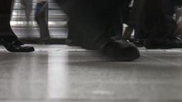 Closeup of shoes at Shinagawa train station (Japan Stock Video Footage