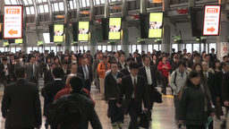 Busy rush hour at Tokyo train station Stock Video Footage