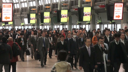Busy rush hour at Tokyo train station Footage