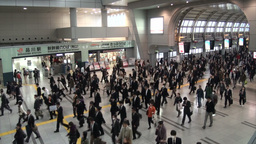 Shinkansen exit and commuters going to work at Tok Stock Video Footage