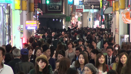 Famous shopping street filled with crowds in Osaka Stock Video Footage