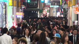 Famous Shopping Street Filled With Crowds In Osaka stock footage