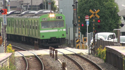 Local commuter train in Kyoto, Japan Stock Video Footage