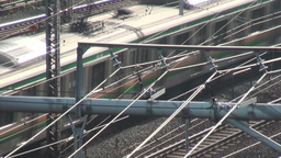 Train, tracks, electricity, wires, Tokyo, commuter Footage