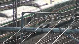 Train, tracks, electricity, wires, Tokyo, commuter Stock Video Footage