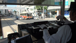 Tram driver in Hiroshima, Japan Stock Video Footage