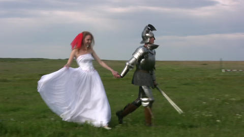Girl and the knight Stock Video Footage