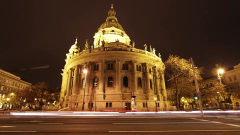 4 K Basilica Budapest Hungary at Night 1 Stock Video Footage