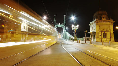 4 K Liberty Bridge at Night Budapest Hungary Timelapse Footage