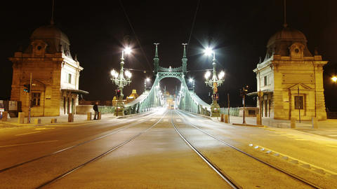 4 K Liberty Bridge at Night Budapest Hungary Timelapse Stock Video Footage