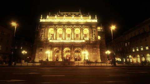 4 K Opera Budapest Hungary at Night 2 Stock Video Footage