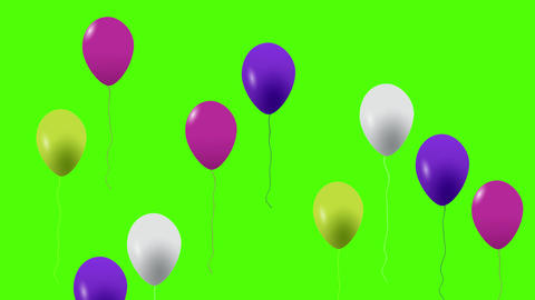 Colorful balloons flying in the air. Flying balloons. Multicolored balloons Animation