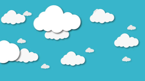Blue sky full of clouds moving right to left. Cartoon sky animated background Animation