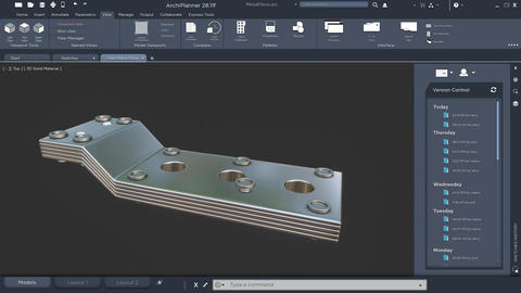 Metallic model object of industrial technical component Animation