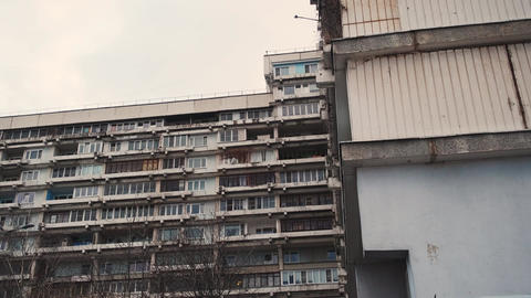 An old, rusty building. Camera tilts in different directions, rocking building Live Action